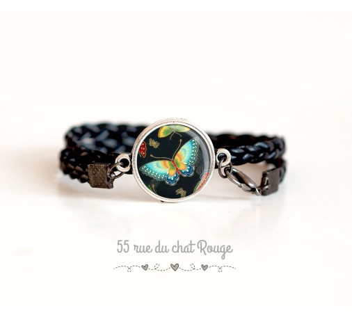 glass cabochon bracelet, Turquoise blue and orange suede leather, My little Fox