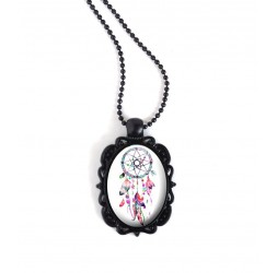 Schwarz-hängende Halskette, ovaler Cabochon, Traumfänger, rosa Farbtöne und fuchsia, schwarz