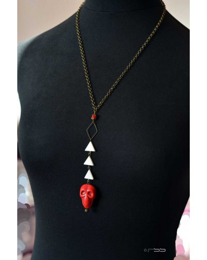 Mid-length necklace, pearl pendant red skull, bronze