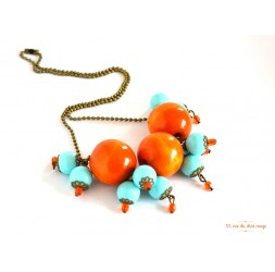 Collier cluster, orange wood, soft blue pearl, bronze