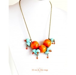 Collier Cluster, orange Holz, weiche blaue Perle, Bronze
