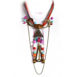 Grand collier très original, évènementiel, multicouleur et bronze