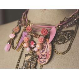 Grand romantique, évènementiel, la femme à la harpe, rose et bronze
