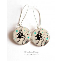 Earrings, Pin-up 60 years, black and white, cabochon epoxy resin