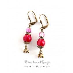Orecchini per colore rosa in bronzo rosso