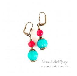 Boucles d'oreilles pendant, perle indienne, turquoise et rouge, bronze