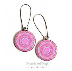Pendientes, Mandala, de color rosa y azul pastel tonos, resina epoxi cabujón, bronce