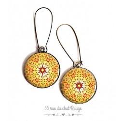 Boucles d'oreilles, Mandala jaune, soleil, rouge, esprit Zen, cabochon résine époxy, bronze